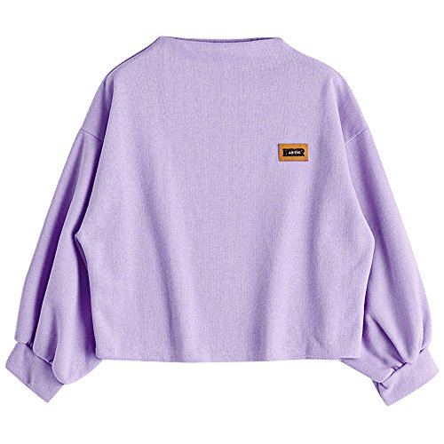 ZAFUL Damen Lantern Sleeve Badge Patched Rundhalsausschnitt Langarm Lose Bluse Strickpulli Hemd Shirt Oversize Sweatshirt Tops(Light Purple)