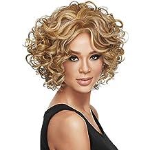 LuoLeiNa pelucas para mujer degradado rubio, parte lateral, rejilla sintética, pelo corto rizado
