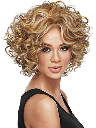 LuoLeiNa pelucas para mujer degradado rubio, parte lateral, rejilla sintética, pelo corto rizado, aptas para calor