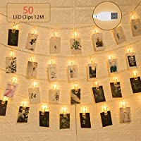 GIGALUMI 50 LEDs String Lights with Photo Clips 12m Warm White USB Powered Photo Peg Fairly Lights Decor for Birthday, Wedding, Christmas, Bedroom, Party etc.