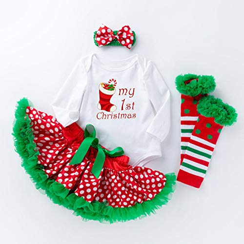 SPFAZJ Kinder Baby Weihnachtskostüm Cartoon Christmas Tree Socken Dot Flauschigen Rock Set