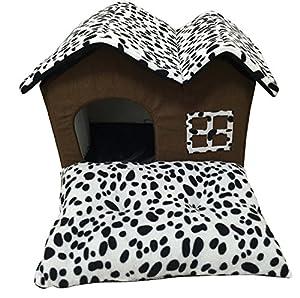 Zaote solide et résistant pour chien chat animaux de compagnie Hamster Niche avec deux toits Noir et blanc pois