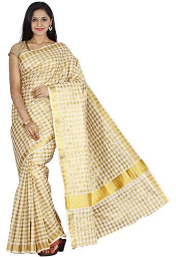 JISB Kerala cotton Zari checks saree with running blouse material