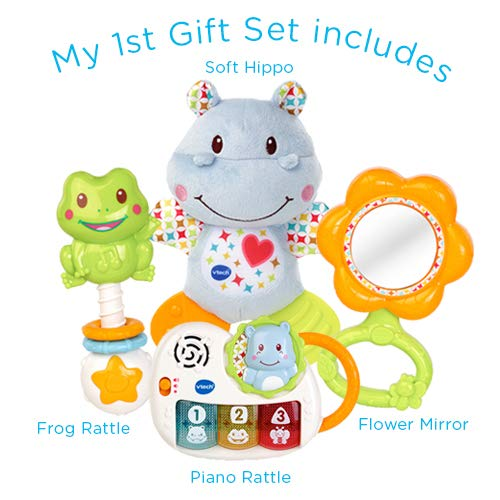 VTech My First Gift Set New Baby Gifts, New-born Baby Toys Including Hippo Animal Plush, Baby Teether, Baby Rattle & Baby Musical Toy, Baby Toys 0, 6, 12 Months & Over for Boys & Girls