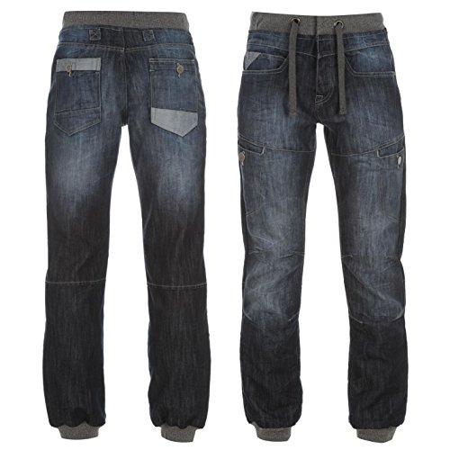 airwalk-cuffed-jogger-herren-jeans-denim-jogginghose-hose-kordelzug-freizeit-blau-32w-r