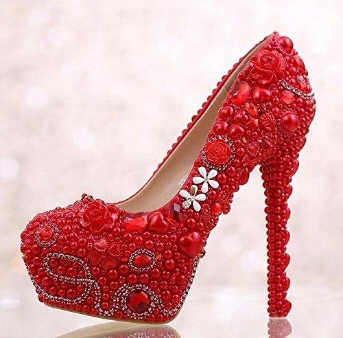JINGXINSTORE Womens Crystal piattaforma perla scarpe tacchi alti scarpe da parte della pompa di scarpe di nozze red