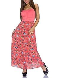 Maxikleid für Sommer schulterfrei in Orange Strandkleid Sommerkleid Kleid lang