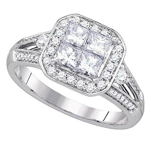 1,00Karat (ctw), 14K Weiß Gold Runde und Princess Cut Diamant Bridal unsichtbar Engagement Ring 1ct (1-karat-diamant Ring Princess Cut)
