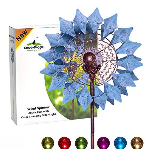 SteadyDoggie Solar-Windrad & Mehrfarbiges LED-Licht, Azurblau, Antik-Bronze-Stil & Wasserdichtes Material, Standfestes und Körperhohes 190cm | Metall-Windrad mit einfacher Installation
