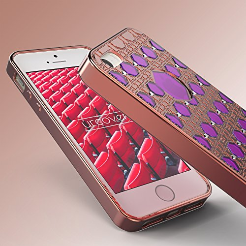 Urcover® Apple iPhone 5 / 5s / SE Hülle Oriental Silikon Case mit Stylischem Muster Handyhülle Gold / Pink Cover Back Schutzhülle Handyschutz Rose Gold / Pink