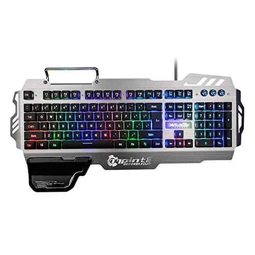 FFairy Gaming-Tastatur aus Aluminium, RGB-LED-Hintergrundbeleuchtung, kabelgebunden, 26 Knöpfe ohne Kollision, wasserdicht, mit Halterung für Mobiltelefon und große Handauflage Guncolor