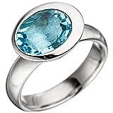Ring Damenring mit Blautopas blau hellbalu 925 Silber oval Silberring für Damen, Ringgröße:Innenumfang 56mm ~ Ø17.8mm