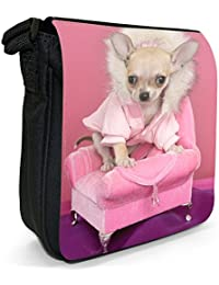 Cool Chihuahua Dog On Chair Small Black Canvas Shoulder Bag / Handbag