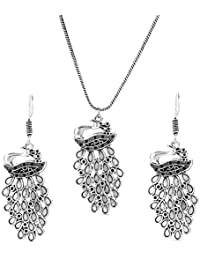 Kesar Contemporary Peacock Pendant Design Necklace Earrings Set | Oxidized Peacock Pendant Necklace Set With Earrings