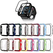 Cuteey 16 Pack for Apple Watch SE Series 6 5 4 44mm Hard Case with Built-in Tempered Glass Screen Protector, O