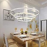 Modern LED Pendelleuchte 3 Ringe Design Pendellampe Metall Decken Hängeleuchte Esstisch Dekorative Fisch Kronleuchter Kreative Hängelampe Esszimmer Leuchte Warmes Licht 60CM+40CM+20CM