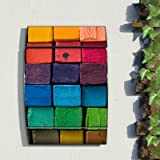 motivx Wandbriefkasten Design bunt bedruckt Arcus Edelstahl Briefkasten mit Motiv - Bunte Kreide