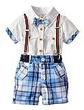 [Bekleidungsset Junge Sommer] Kurzarmhemd mit Fliege + Kurze Hose mit Träger Set Kleinkind Baby Gentleman Anzug