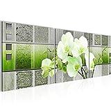 Bild 120 x 40 cm - blumen Bilder- Vlies Leinwand - Deko für Wohnzimmer -Wandbild - XXL 3 Teile Teile - leichtes Aufhängen- 800733b