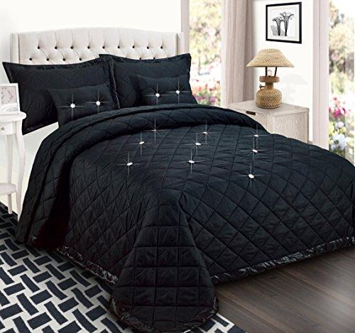 Sunrise Betten Super Luxus, gesteppt, wendbar Tröster Set 5tlg. Diamant Tagesdecke Bettwäsche-Set mit passenden Kissen Schande für und gefüllt Kissen, Polyester, Schwarz , King (235 x 255 CM)