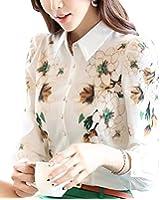 BININBOX Damen Chiffon T-Shirt Bluse mit Aufdruck Blumenprint Kragen Regular Fit Langarm