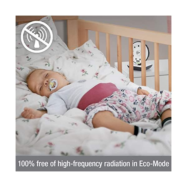NUK 550VD Video Baby Monitor with LCD Screen, Night Vision, Temp. Sensor, 2-Way Talk & Lullabies NUK 100% free from high frequency radiation in baby's room in eco-mode 2in1: can be used for video/audio or only audio surveillance Integrated camera with night vision and zoom 2