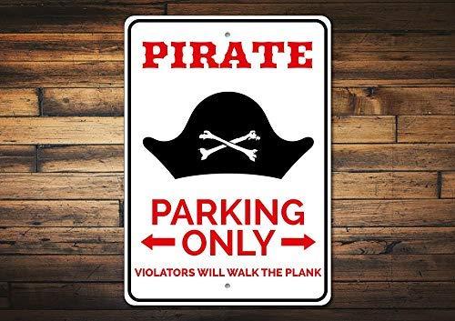 qidushop Piraten-Parkschild Piraten-Geschenk Piraten-Schild Piraten-Deko Piraten-Hut Deko Piratenhut Kreuz Knochen Schild Deko Metallschilder für Frauen Wand Post Blechschild Geschenk