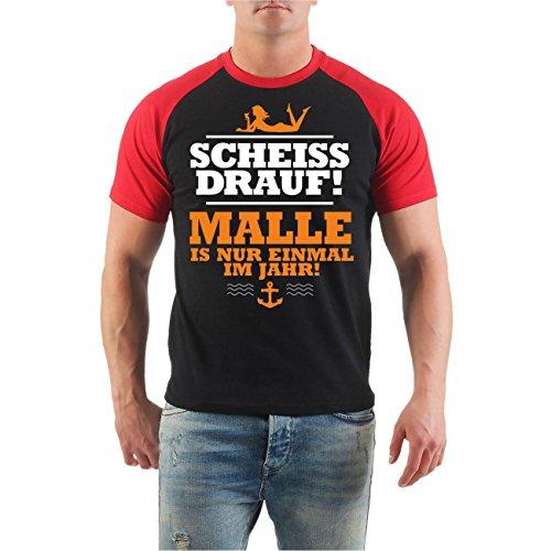 Männer und Herren T-Shirt MALLE ist nur einmal im Jahr BALLERMANN 2017 ORANGE Schwarz/Rot