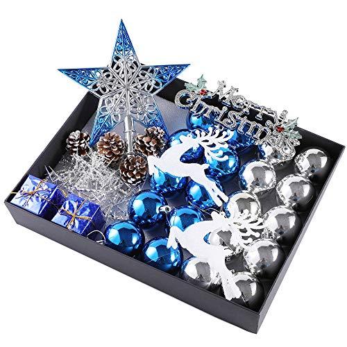 31 pezzi infrangibile lusso palline di natale impostato, ciondoli decorazioni natalizie, confezione regalo, brillante/luccichio/matte, blu e argento