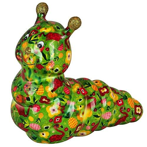 Pomme Pidou Spardose Caterpillar Gigi | Originale Keramische Raupe Spardose | Grün mit Flamingos | Exklusives Geschenk mit Gratis Geschenkbox | Liebevoll Handgemacht