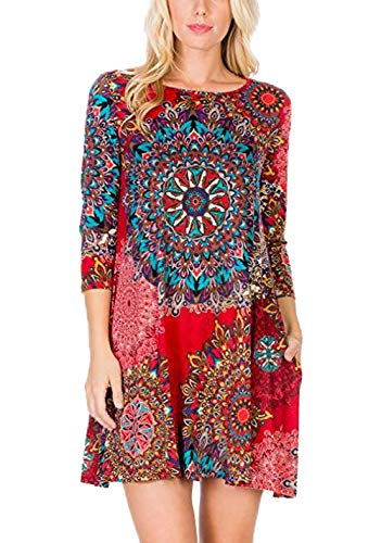 Ajpguot Sommerkleider Damen Casual Ärmellos T-Shirt Kleid Kurz Blumen Kleider Blusenkleider Strandkleider mit Taschen (8889 Rot, L) -