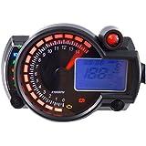 calistouk LCD Digital velocímetro, Universal Motocicleta suciedad bicicleta odómetro tacómetro Gauge 15000rpm