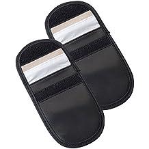 Auto Companion - Funda bloqueadora de RFID para llaves de coche, juego de 2  fundas antirrobo  de cuero sintético para llaves de coche «keyless» y tarjetas bancarias (negro)