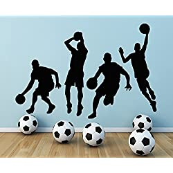 Vinilo adhesivo de Vinilo para Pared de pelota de baloncesto para deportistas Decor Sports Hall Home Interior para ventana en forma de cubo para mochila de deporte con texto diseño de escuela deportiva Art murales MN517