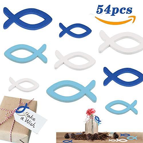 LAKIND 54 Stück Holzfische Deko Streudeko Fische Taufe Deko Junge Holz Fisch Konfirmation Kommunion Dekoration Streuartikel Tischdeko (Blau & Weiß-54st)