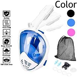 AUTSCA Masque de Plongée,180 ° View Masque Tuba Intégral, Canaux Anti-buée à Double Flux d'air et Conception à Dessus Sec Flotteur Silicone étanche Fixation Anti-Buée et Anti-fuite(M )