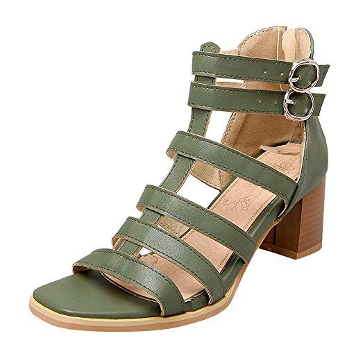 MissSaSa Donna Sandali col Tacco Metà Fashion e Casual olive verde