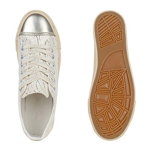 Damen Sneakers Glitzer Freizeit Schuhe Schnürer Casual Look Gold