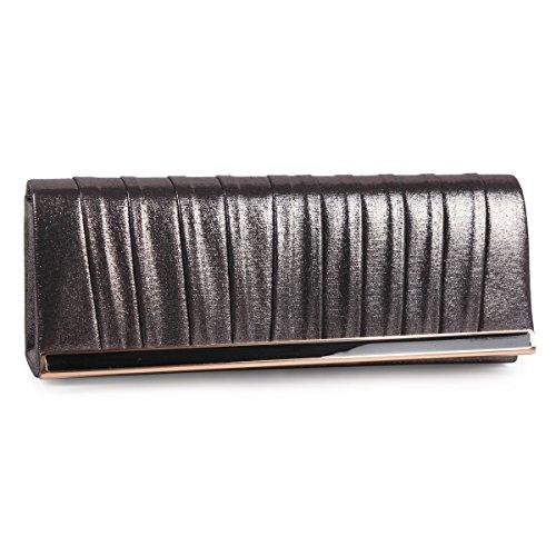 Damara Satin Weiches Handgefühl Einfaches Design Party Hochzeit Abendtasche Kettentasche Schultertasche, Silber Bronze
