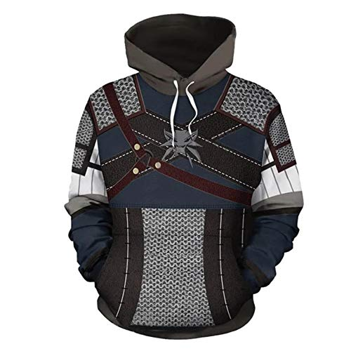 VVPPS 3D Prints Sudadera Jumper Transpirable con Capucha para Hombre, Tallas S, M, L, XL, 2XL, 3XL The Witcher-2 L