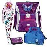 Butterfly Schmetterling Leicht-Schulranzen Set 5tlg. Baggymax SIMY Hama mit SCHULSPORTTASCHE, SCHULTÜTE und SCHULTÜTENSCHMUCK-Set
