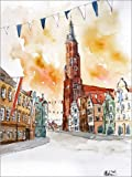 Poster 30 x 40 cm: Landshut Dreifaltigkeitsplatz Landshuter