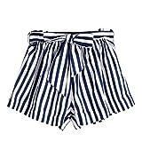 UFACE Damen Frauen Striped Shorts Frauen Sommer Streifen Lose Hot Pants Lady Sommer Strand Shorts HosenBlau,XL/(40))