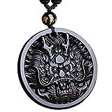 Mode klassischen chinesischen Stil Buddha Glück Obsidian/Gold Obisdian Drachen Brave Mans Kristall Steinpendel Anhänger Halskette mit passenden Obsidian Kette (Round dragon)