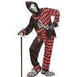 Harlekin Kostüm Halloween - 164, 14 - 16 Jahre - Horrorclown Halloweenkostüm für Jungen Horrorkostüm Hofnarr Gruselclown Verkleidung Mörderclown Kind Böser Clown Kinderkostüm