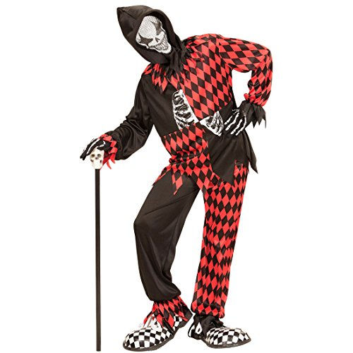 Imagen de traje halloween arlequín  159  164 cm, 14  16 años | disfraz infantil payaso asesino | traje clown malo | disfraz niño bufón malvado