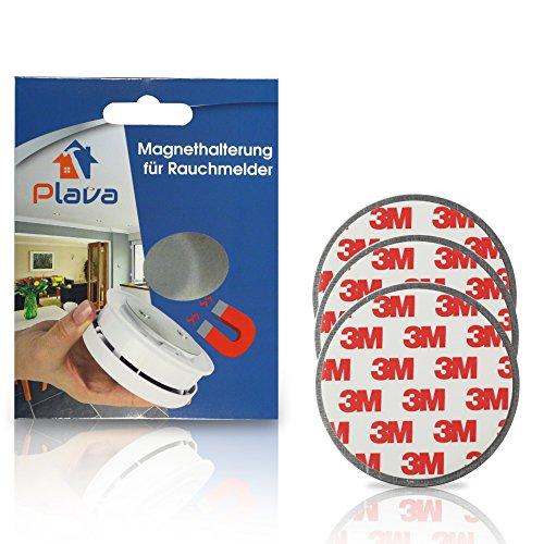3x PLAVA Magnethalterung für Rauchmelder- Starke 3M Klebepads – Selbstklebend ohne Bohren –...