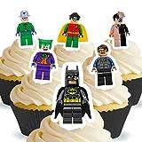 12 x Vorgeschnittene und Essbare Aufrecht Stehende Lego Batman Kuchen Topper (Tortenaufleger, Bedruckte Oblaten, Oblatenaufleger)
