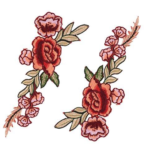 1 Par Parches Bordados para Ropa Flores Coser Decoración (Rojo)