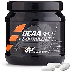BCAA 4:1:1: + L-CITRULINA* Fórmula innovadora para impulsar el rendimiento deportivo* 200 comprimidos/320g* Fabricado en Francia* Calidad certificada por Certificado de Análisis*